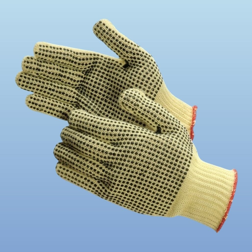 Get 100% Kevlar String Knit Gloves with Two-Sided PVC Dots