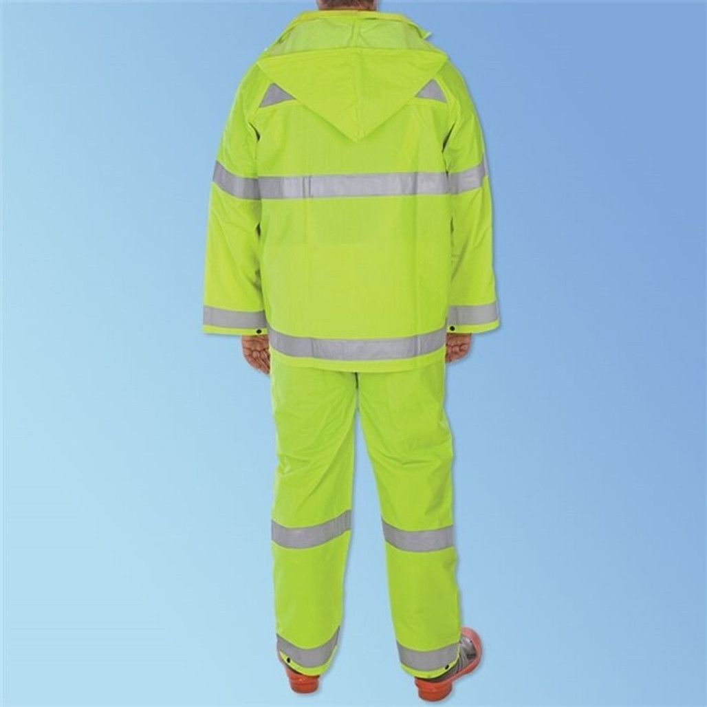 PVC/Polyester Hi-Vis Green 3-Piece Rainsuit, each | Harmony Lab and Safety Supplies