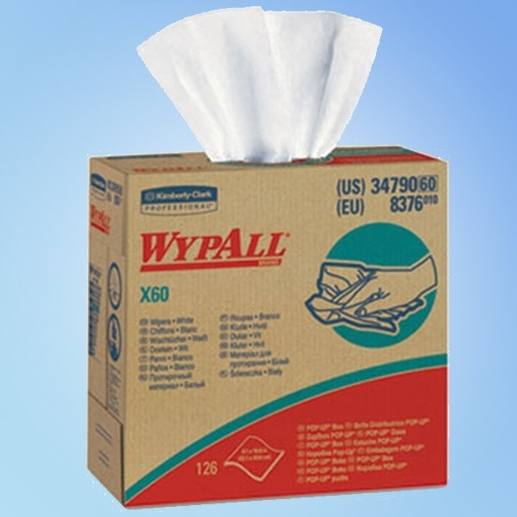 """Get Wypall X60 White Wipes, 9.1"""" x 16.8"""", Dispenser Box, 10 boxes/case L34790 at Harmony"""