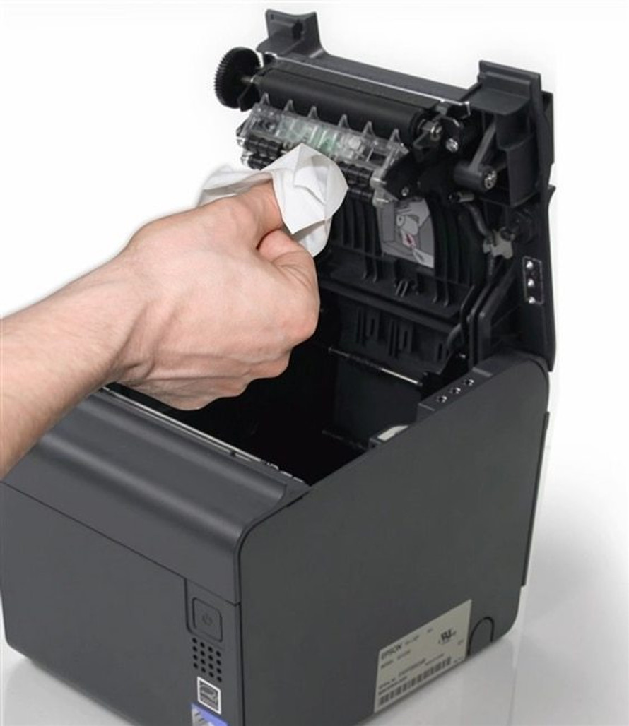 99.7% isopropyl alcohol wipe cleans thermal printer