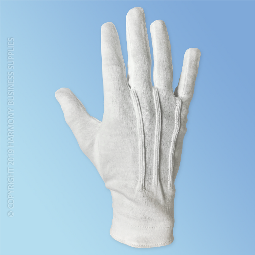 Get Formal White Dress Gloves with Snaps, 12 pairs LB4622 at Harmony