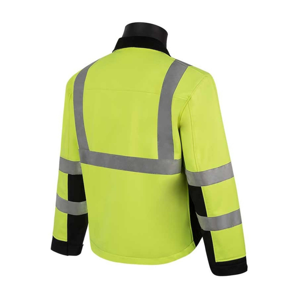 HivizGard Class 3 Soft Shell Jacket, Lime Green, Black Bottom, each   Harmony Lab and Safety Supplies