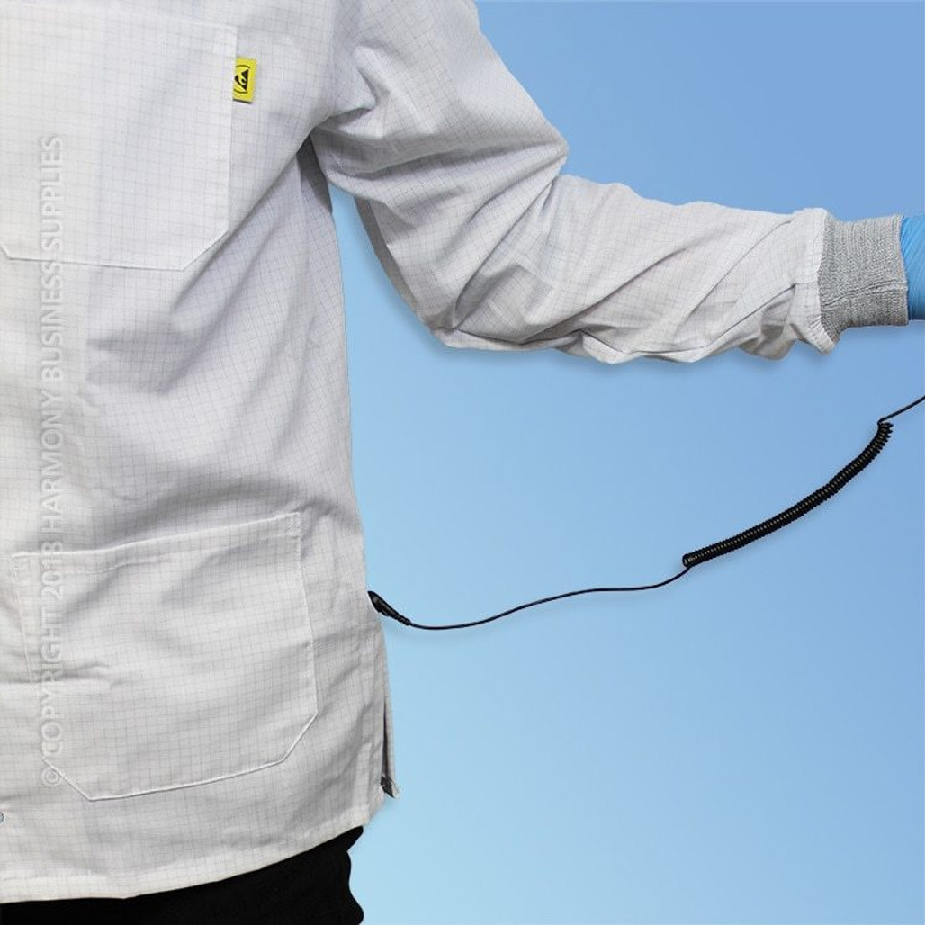 Poly/Cotton ESD Lab Coats, Knit Cuff, each   Harmony Lab and Safety Supplies