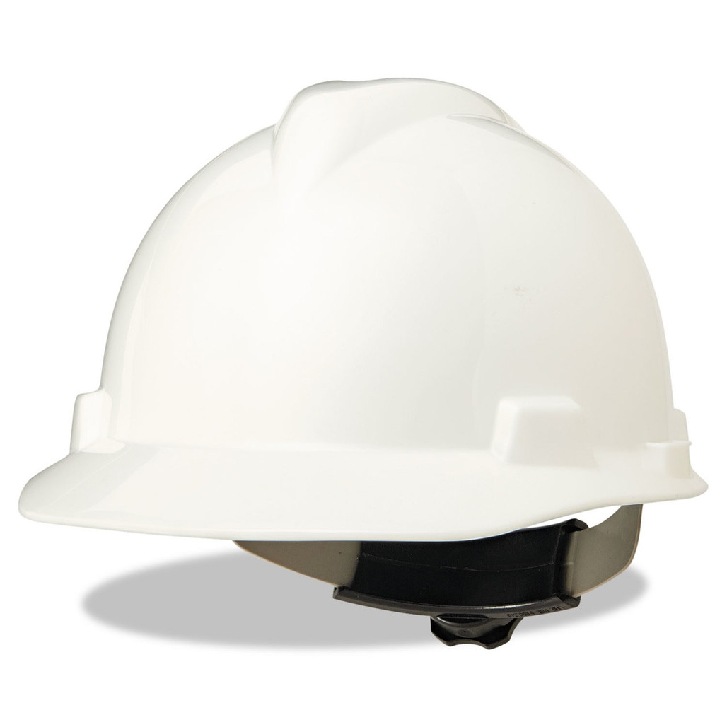 V-Gard Slotted Cap Style Hard Hat, Fas-Trac III Rachet Suspension, White, ea   Harmony Lab and Safety Supplies