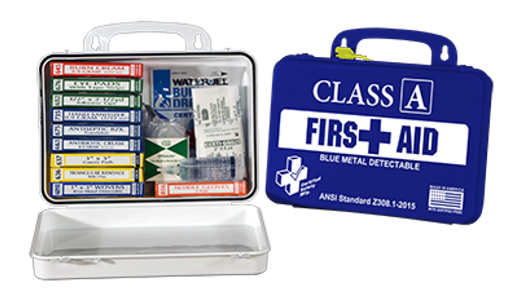 Save on Certified Safety First Aid Kit, Blue Metal Detectable, Class A, each K615-012 at Harmony