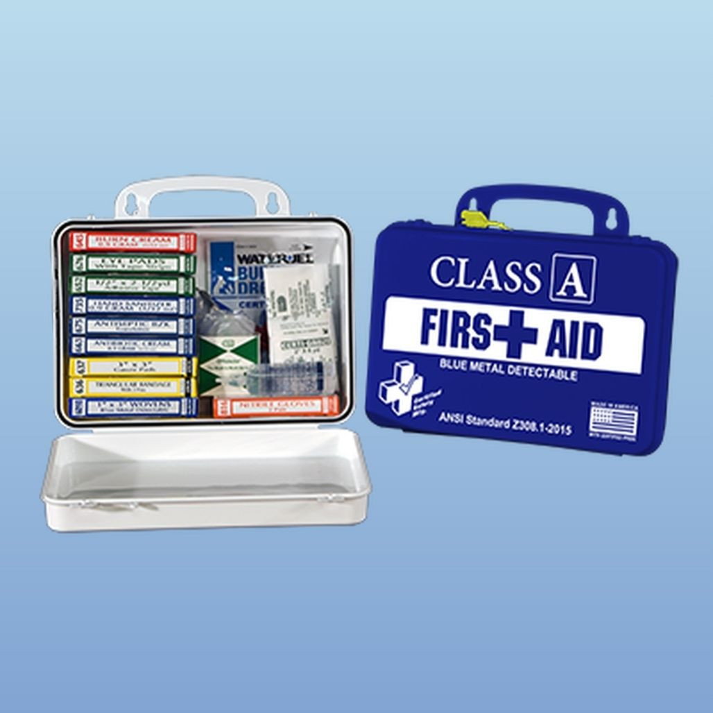 Certified Safety First Aid Kit, Blue Metal Detectable, Class A, each K615-012