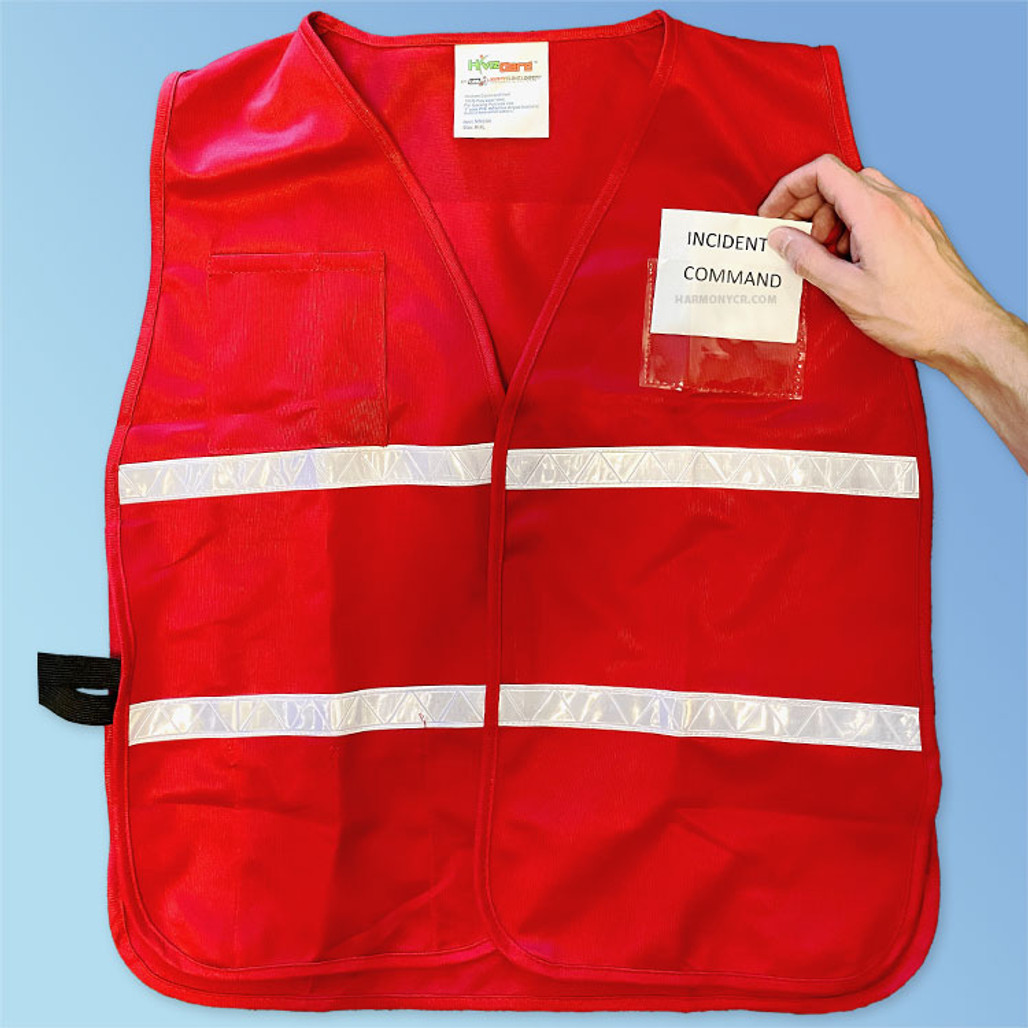 Front slide in pocket - HiVizGard Incident Command Safety Vests at Harmony