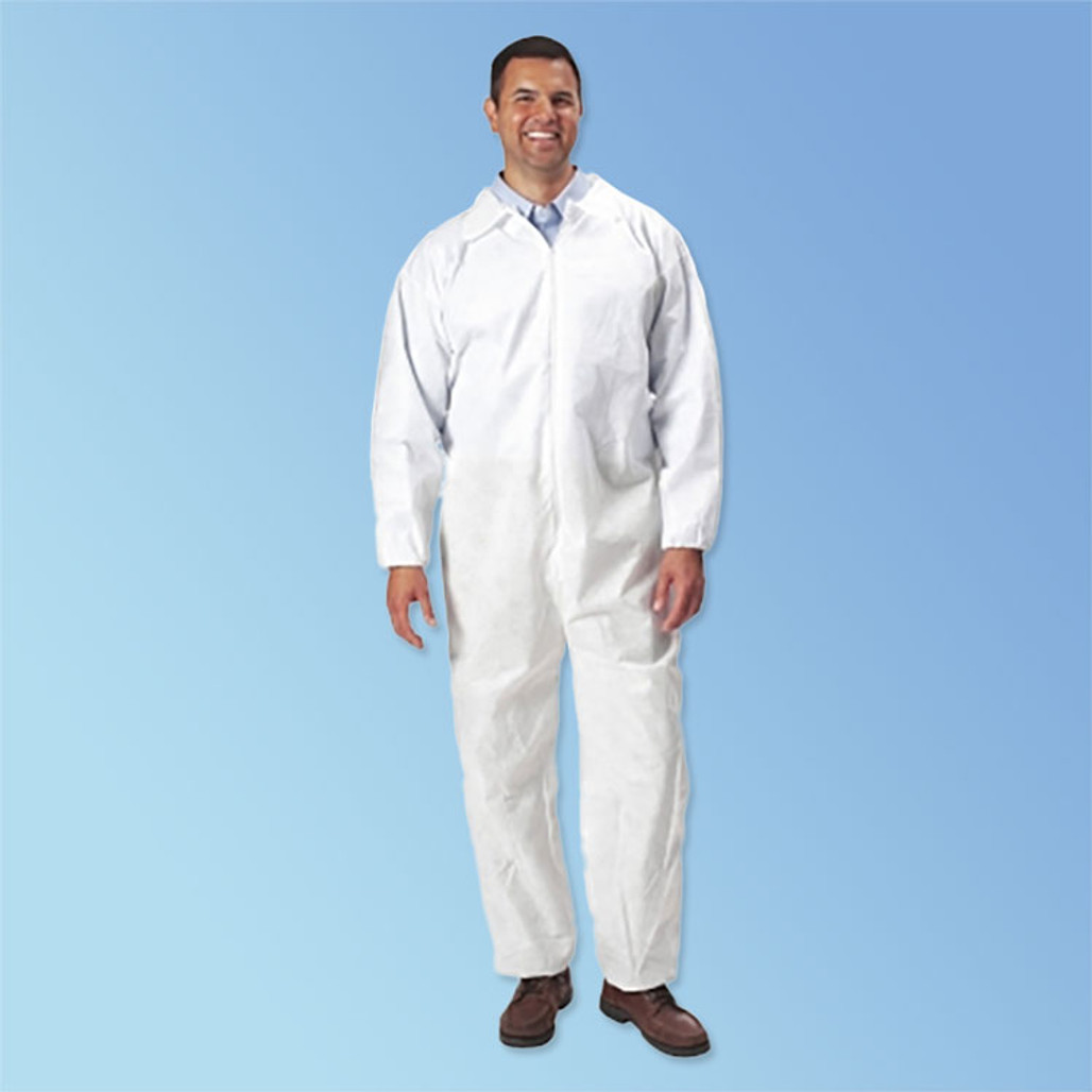 Keystone White Polypropylene Coveralls, OPEN wrist & ankle, 25/case (T180OP-WH)