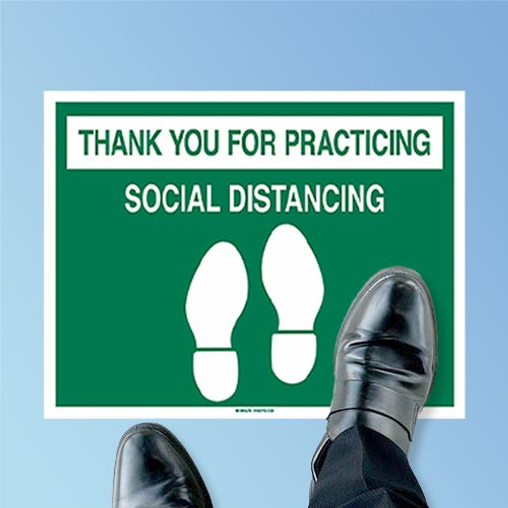 Top-Down View Brady Thank You For Practicing Social Distancing Anti-Skid Vinyl Floor Sign Decal, Green on White, 14 in. x 18 in. (170213) at Harmony Lab and Safety Supplies