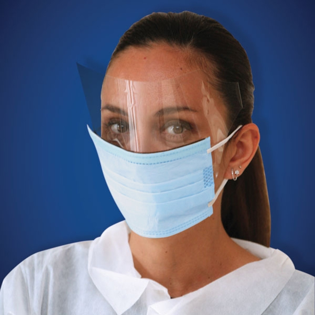 3-Ply Blue Disposable Face Masks with Protective Anti-Fog Eye Shield, 25/box Ultraguard T340ESBX-BE at Harmony Lab and Safety Supplies
