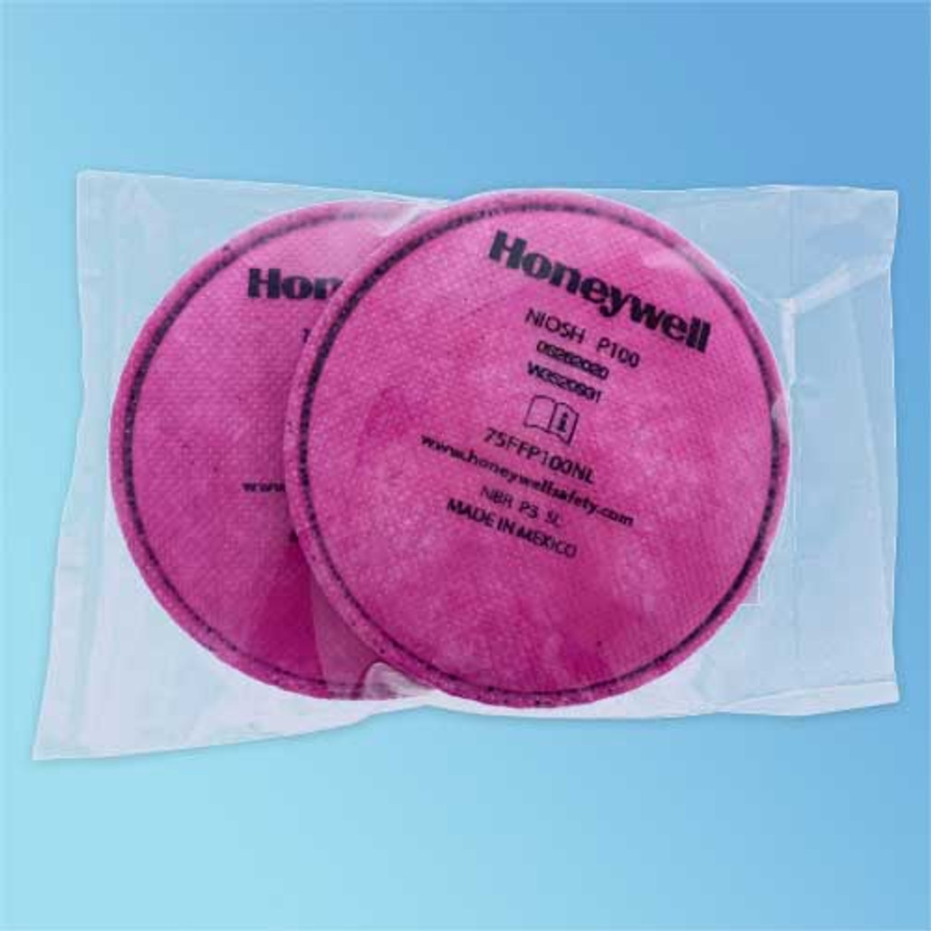 North by Honeywell 75FFP100NL Pancake Style P100 Particulate Respirator Filter (bagged package view) at Harmony Lab & Safety Supplies