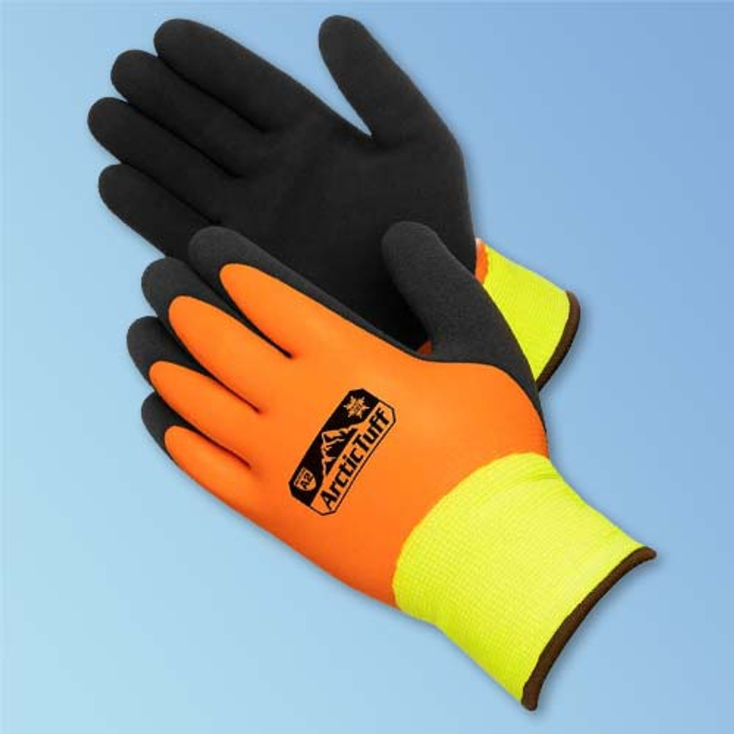 Get Arctic Tuff Foam Latex Double-Coated Glove, Heavy Thermal Liner, Hi-Vis Orange/Black, 12/pair (F4783HV) at Harmony Lab and Safety Supplies