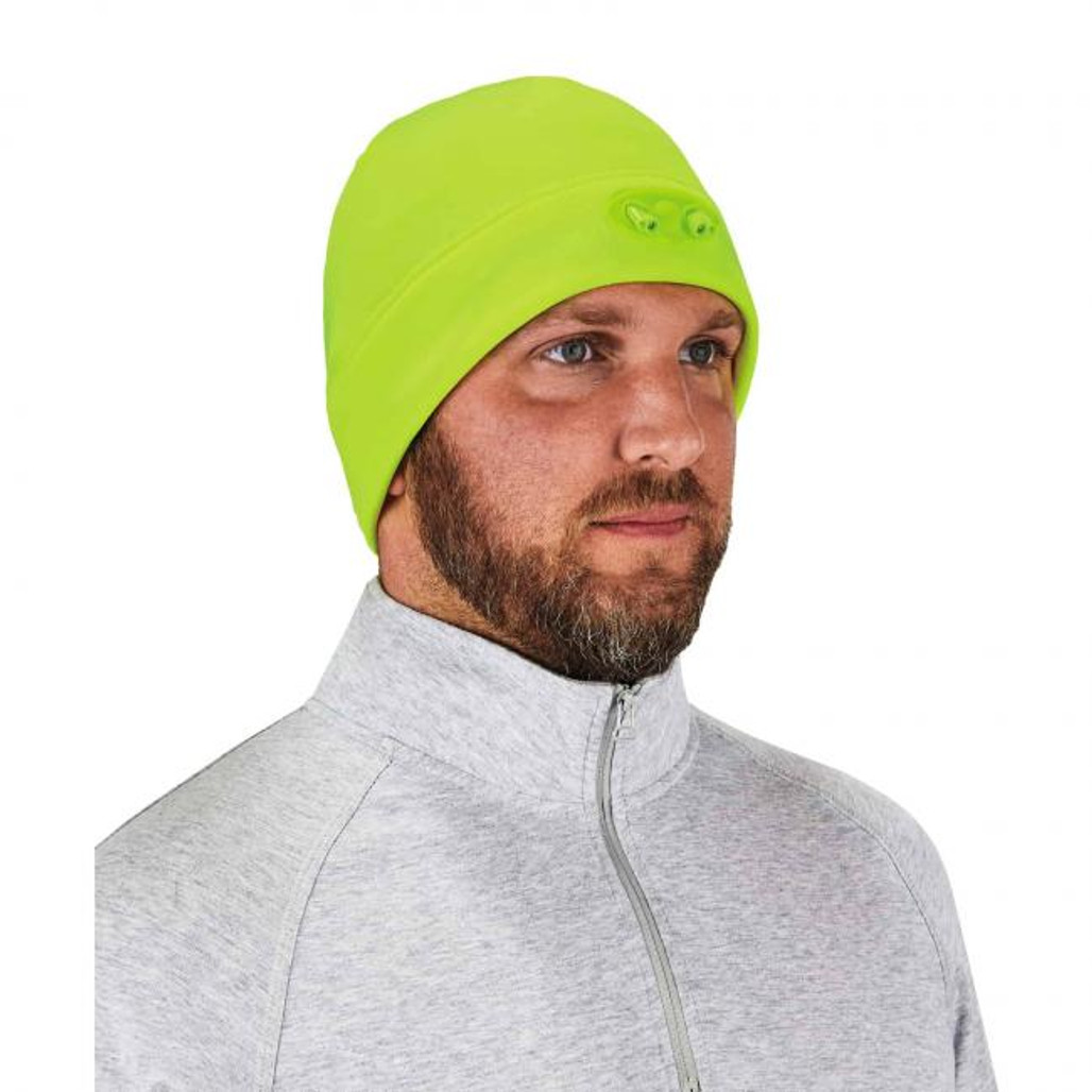 Ergodyne  16802 N-Ferno 6804 Skull Cap Beanie Hat with LED Lights, Lime, at Harmony Lab & Safety Supplies