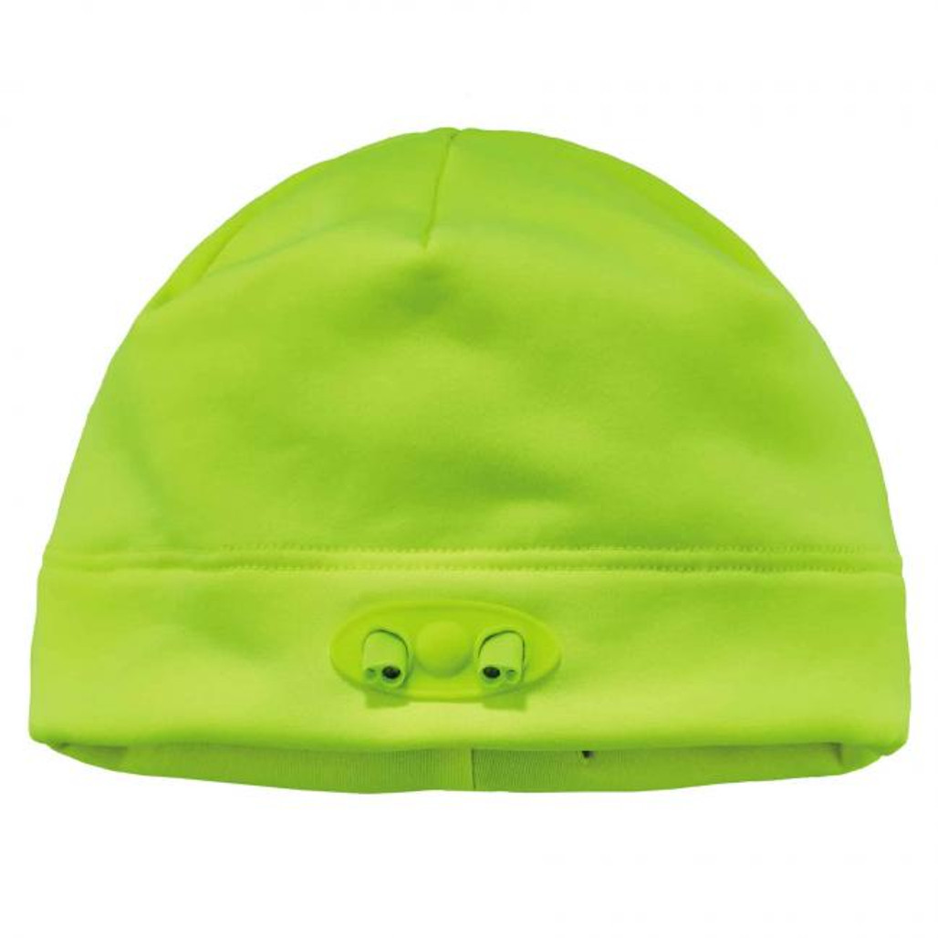 Ergodyne  16802 N-Ferno 6804 Skull Cap Beanie Hat with LED Lights, Lime, at Harmony Lab & Safety Supplies (LED off)