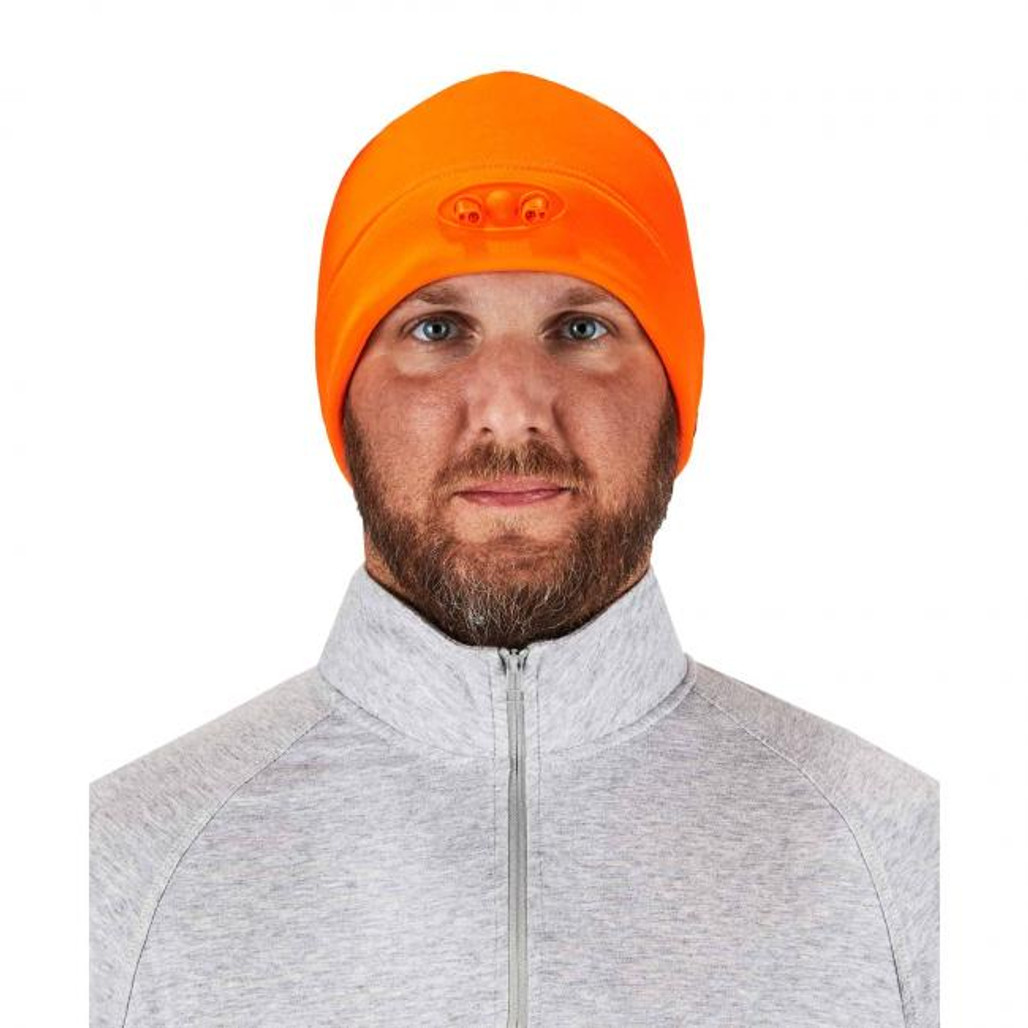 Ergodyne  16804 N-Ferno 6804 Skull Cap Beanie Hat with LED Lights, Orange, at Harmony Lab & Safety Supplies (Front view, LED off)
