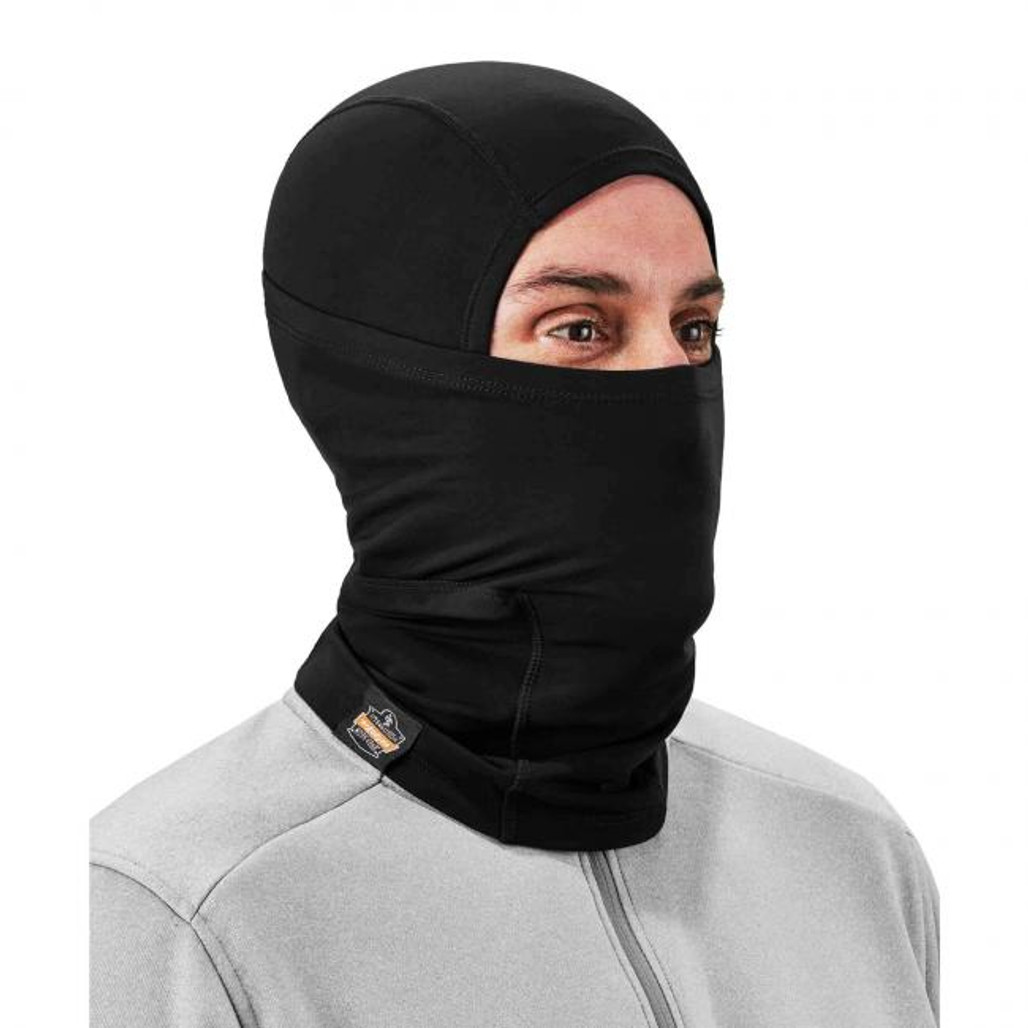 Ergodyne N-Ferno 6838 Solar-Activated Dual-Layer Balaclava, Black, at Harmony Lab & Safety Supplies (Full Face Protection)