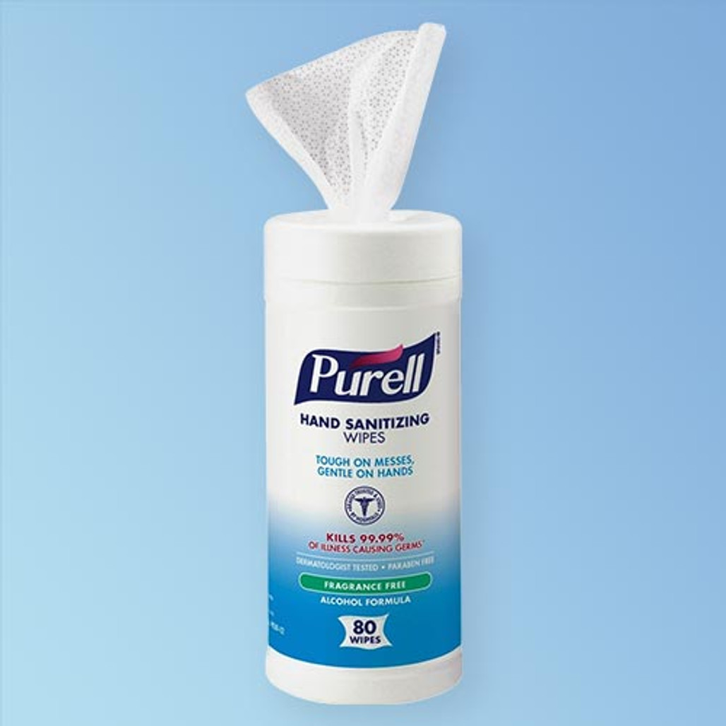Purell Hand Sanitizing Wipes Alcohol Formula, 6 x 7 in., 80 wipe canister, 12 canister case 9030-12   Harmony Lab and Safety Supplies