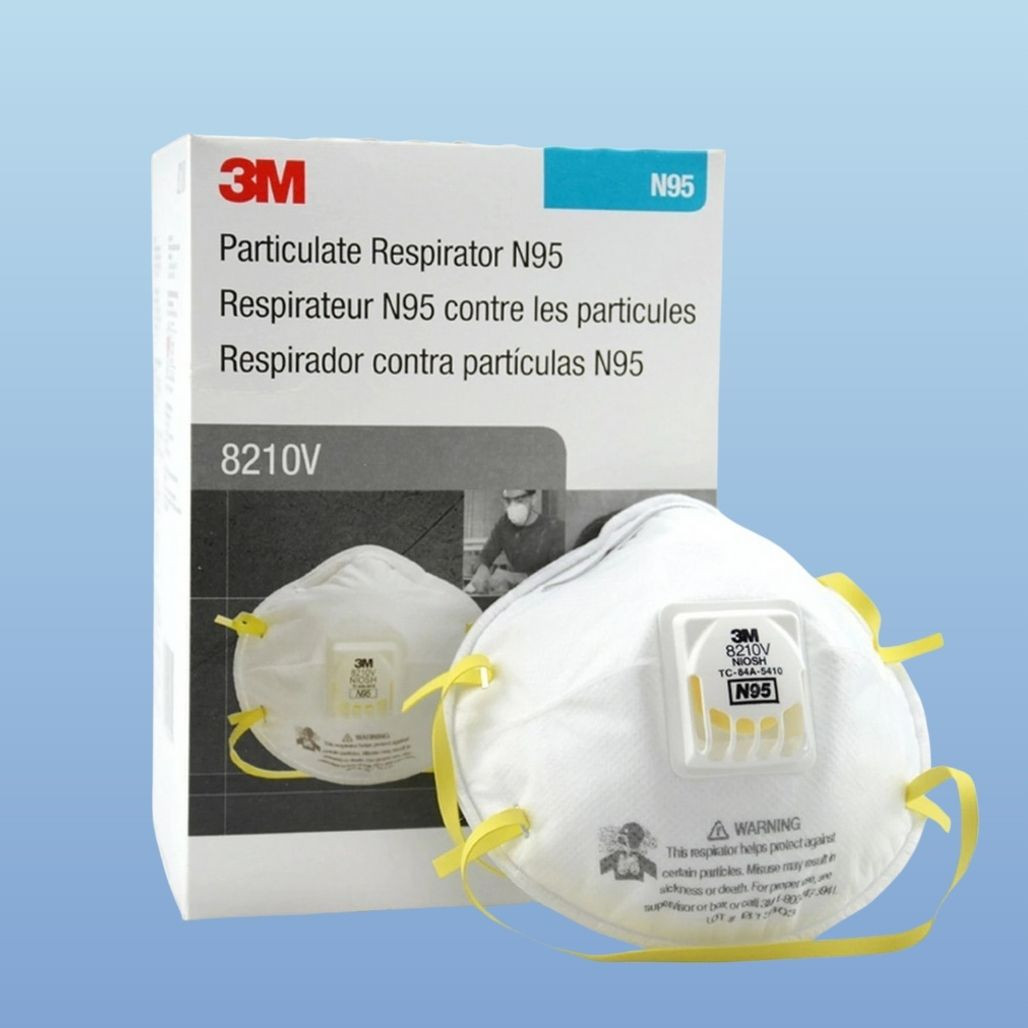 3M 8210V N95 Respirator, pictured with box of 10