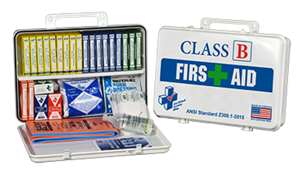 Certified Safety First Aid Kit, Metal case, Class B, each (K615-019) at Harmony