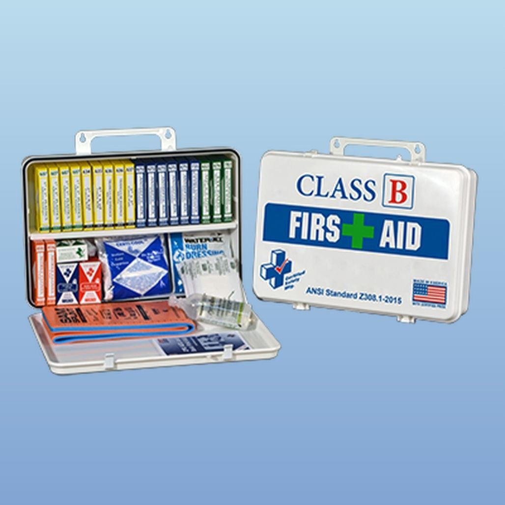 Certified Safety First Aid Kit, Metal case, Class B, each (K615-019)