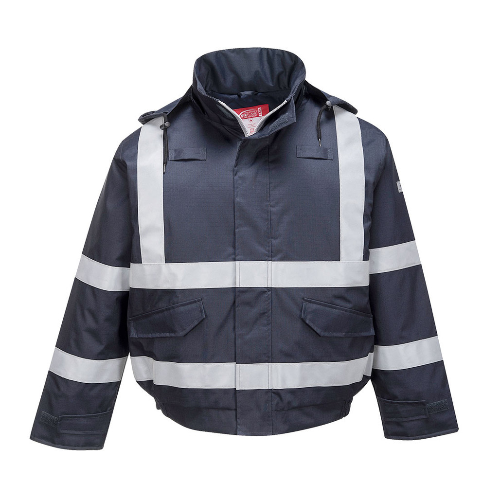 Get Bizflame Flame Resistant Bomber Jacket, Navy (S783) at Harmony Lab & Safety Supplies (Front view)