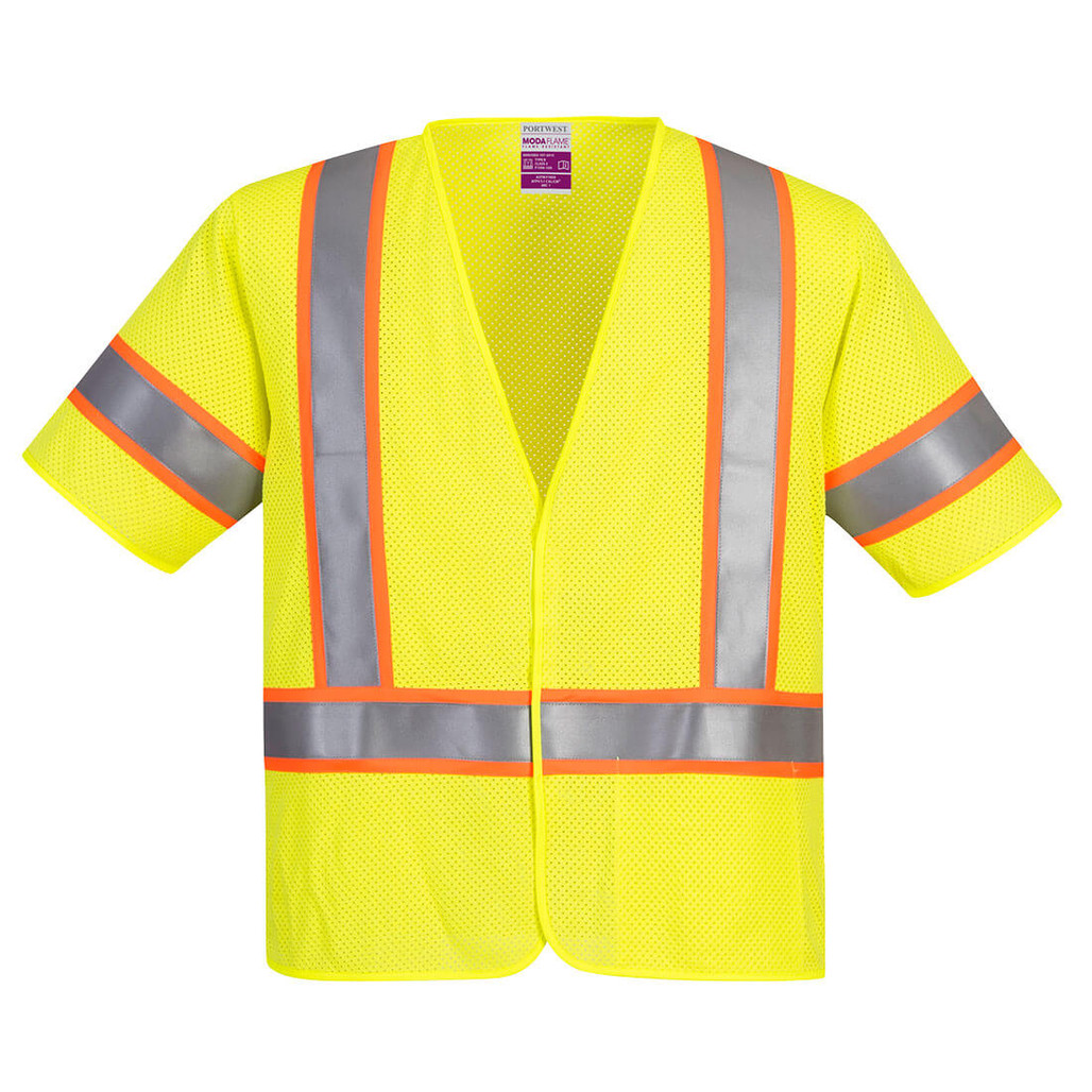 Portwest UFR24 CAT 1 Arc Rated Flame Resistant Class 3 Mesh Safety Vest with Sleeves (UFR24)