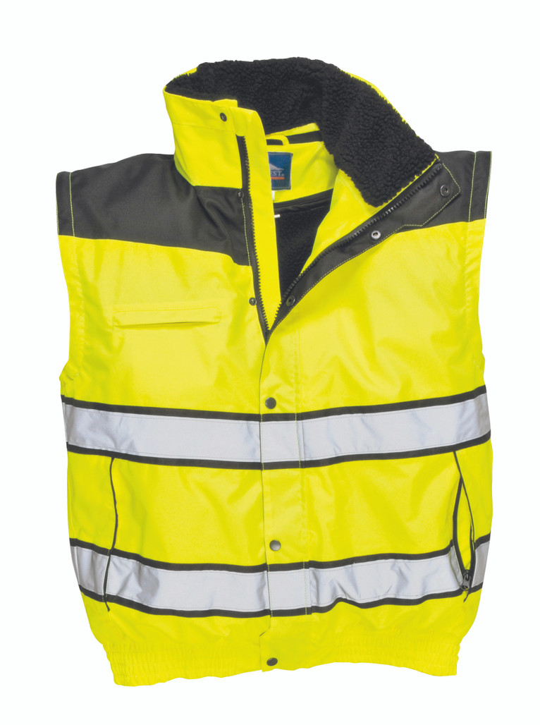 Portwest UC466 3-in-1 ANSI Class 3 Hi-Vis Classic Bomber Jacket with detachable sleeves (UC466YBR)