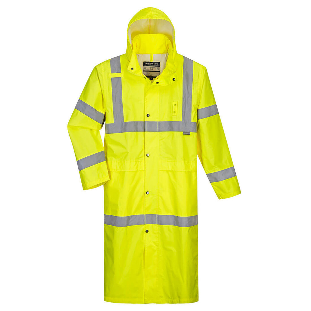 Portwest UH445 Class 3 Yellow Hi-Vis Rain Coat by Harmony Lab & Safety Supplies.