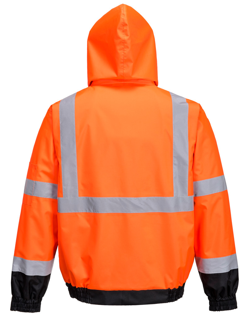 Portwest US365OBR Class 3 Hi-Vis Premium 3-in-1 Bomber Jacket by Harmony Lab & Safety Supplies (back view)