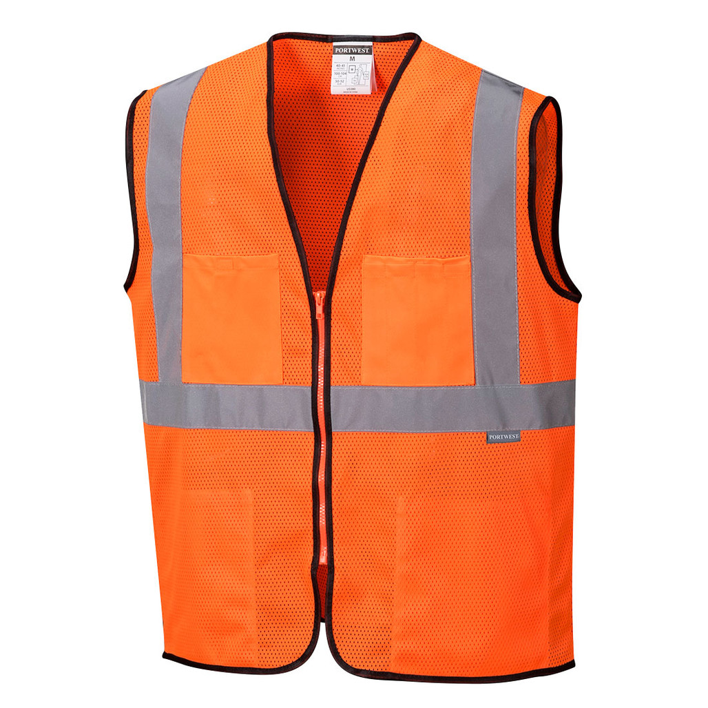 Portwest US380ORR ANSI Class 2 Tampa Orange Mesh Safety Vest by Harmony Lab & Safety Supplies.