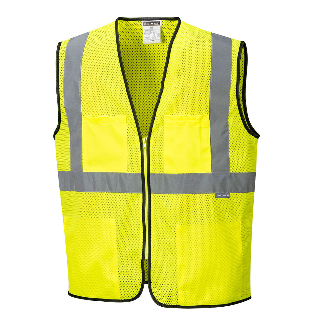 Portwest US380YER ANSI Class 2 Tampa Yellow Mesh Safety Vest by Harmony Lab & Safety Supplies.