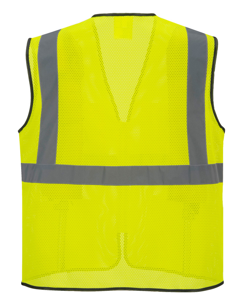 Portwest US380 ANSI Class 2 Tampa Mesh Safety Vest by Harmony Lab & Safety Supplies (back view).