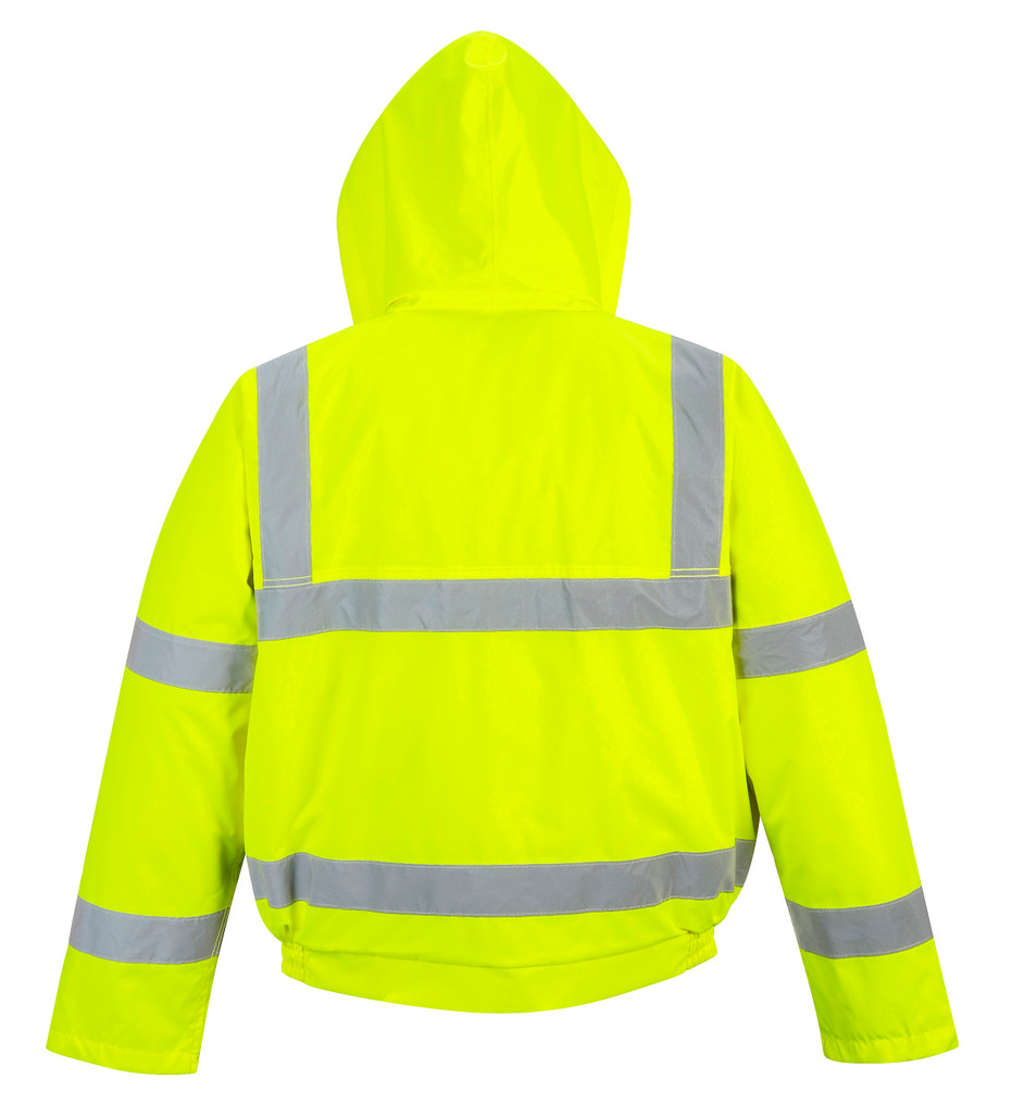 Portwest US463 Class 3 Hi-Vis Insulated Bomber Jacket by Harmony Lab & Safety Supplies (back view).