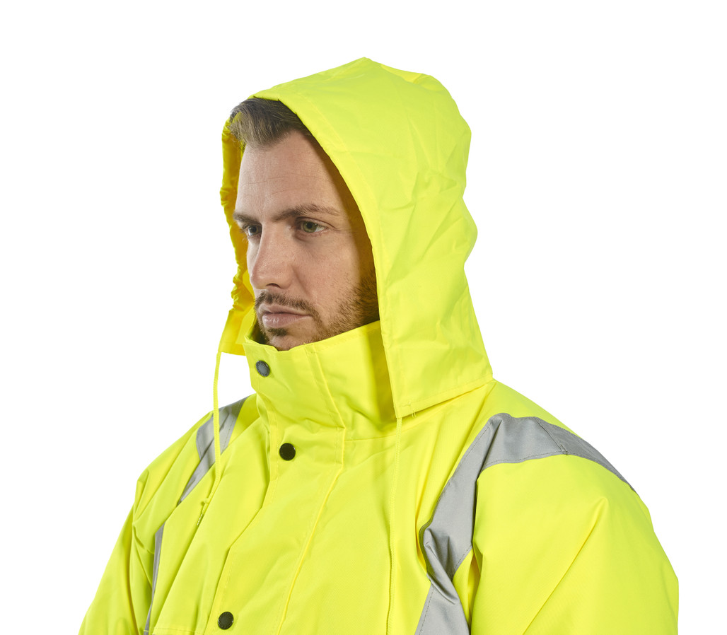 Portwest US463 Class 3 Hi-Vis Insulated Bomber Jacket with Pack-away hood by Harmony Lab & Safety Supplies.