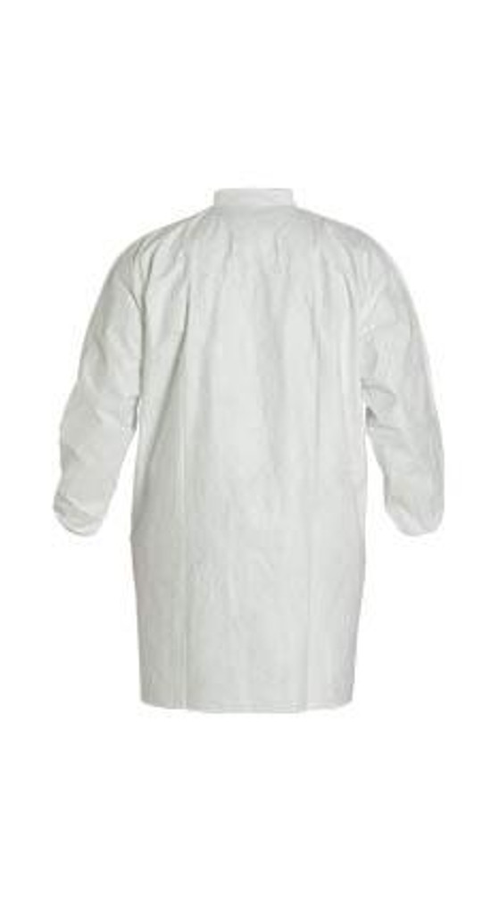 DuPont TY211S Tyvek White Frocks with Elastic wrist, snap closure front, no pockets and collar at Harmony Lab & Safety Supplies.