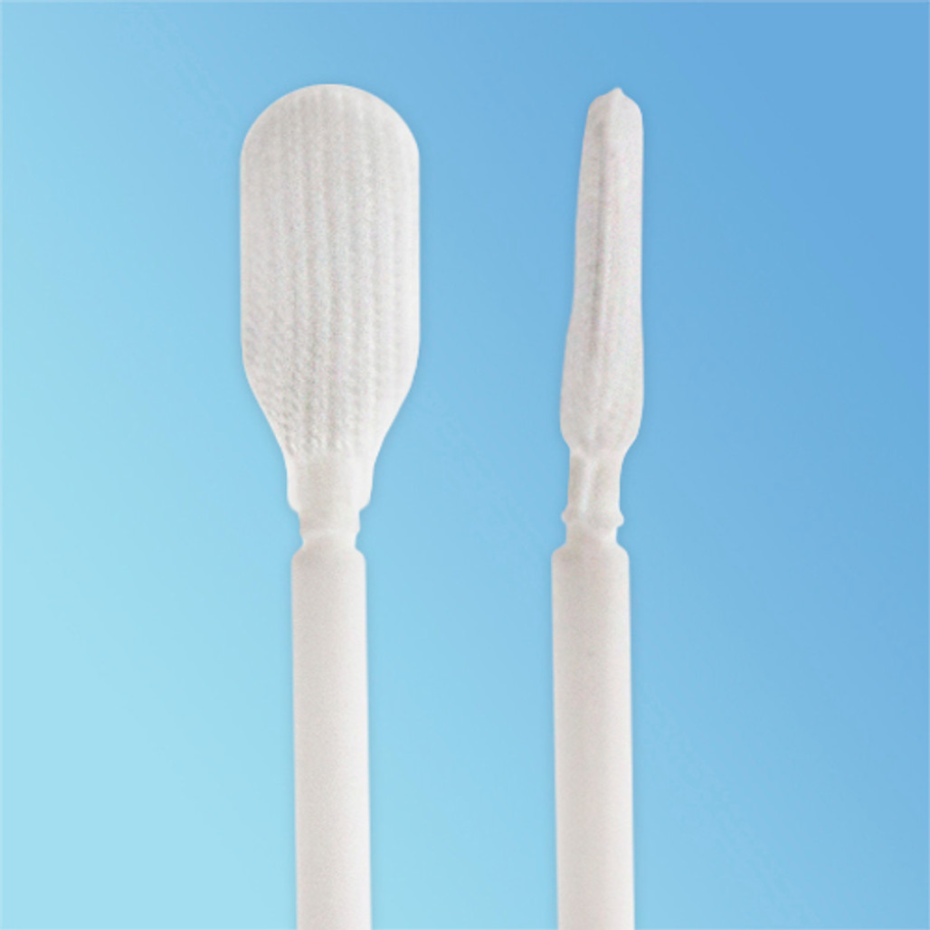 TekniPure TekniSwab Flexible Elongated Paddle Tip Knitted Polyester Swab, 3.6 in., Polypropylene Shaft, 100/bag (TS-P-3.6)   Harmony Lab and Safety Supplies
