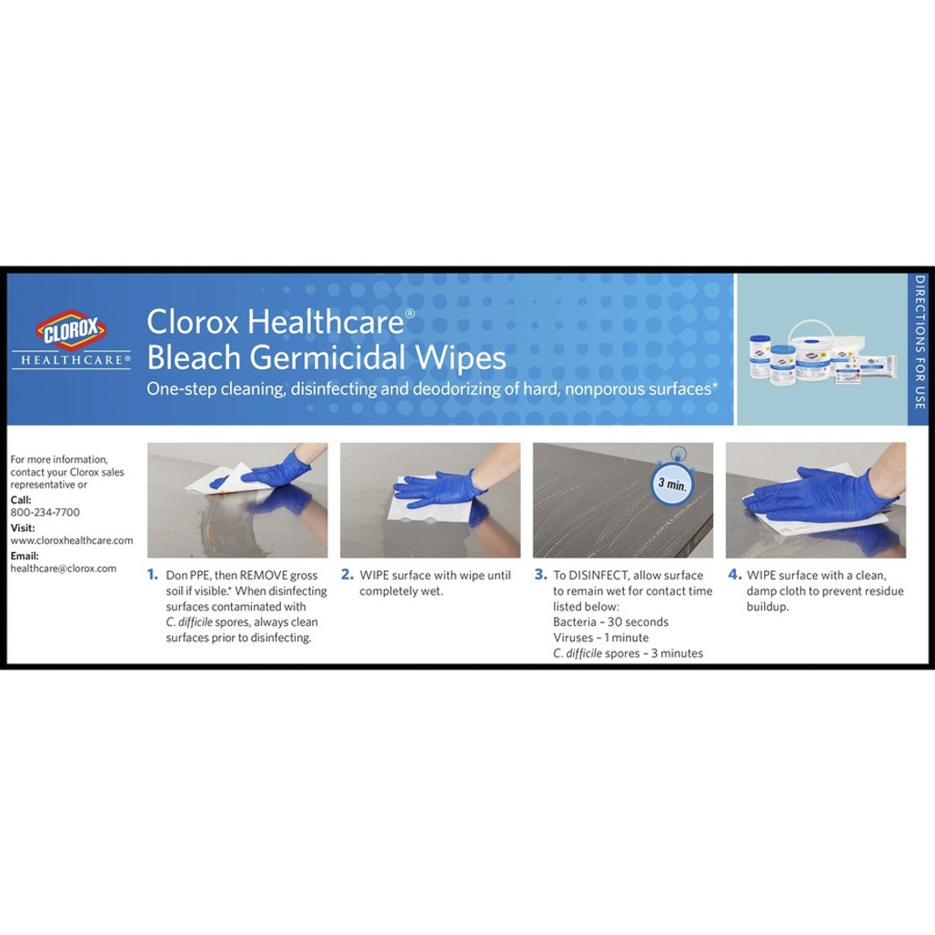 Clorox 30577 Healthcare Bleach Germicidal Wipes for one-step cleaning, disinfecting, and deodorizing   Harmony Lab and Safety Supplies