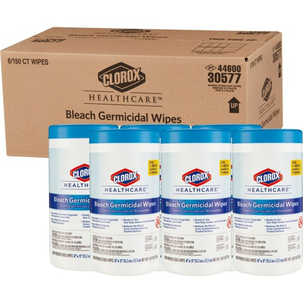 Clorox Healthcare Bleach Germicidal Wipes, 6 x 5 in., 150/Tub, 6/case (L30577)   Harmony Lab and Safety Supplies