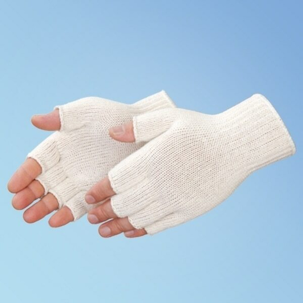Cotton/Polyester String Knit Reversible Fingerless Gloves, Natural White, 12 pairs (F4517Q) | Harmony Lab and Safety Supplies | HarmonyCR.com