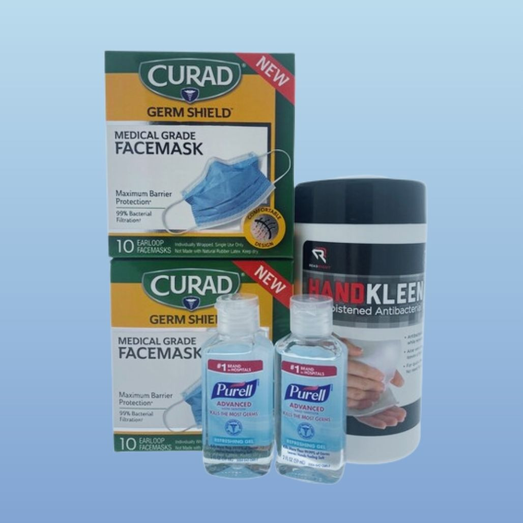 Curad Anti-Viral Mask, Read-Right Sanitizing Wipes, 2 x Purell Travel Size Hand Sanitizer