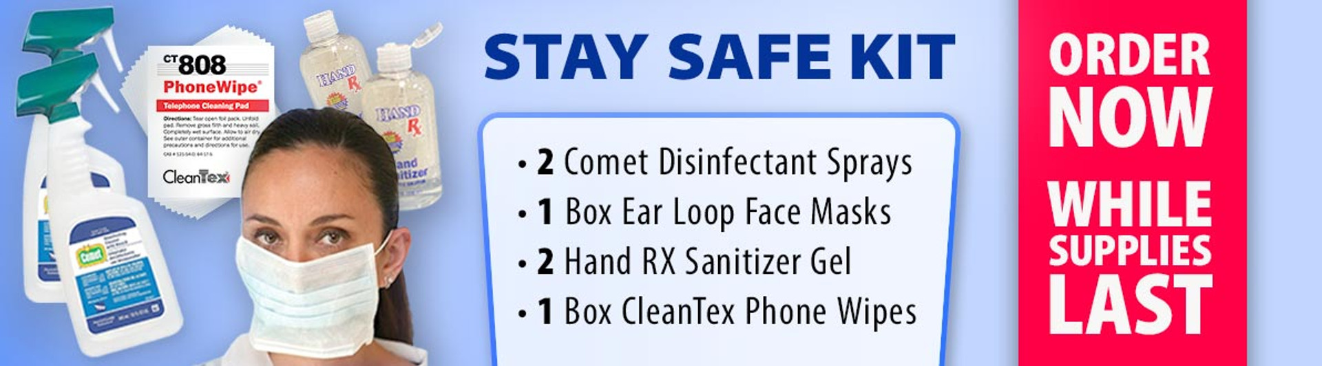 stay safe disinfectant face mask sanitizer phone wipe kit