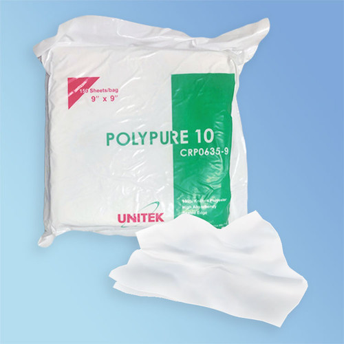 "UNITEK PolyPure 10 Class 10 Cleanroom Polyester Wipes with Ultrasonic Sealed Edges | Cleanroom ready! Choose your size of 4"", 6"", 9"", or 12"". 