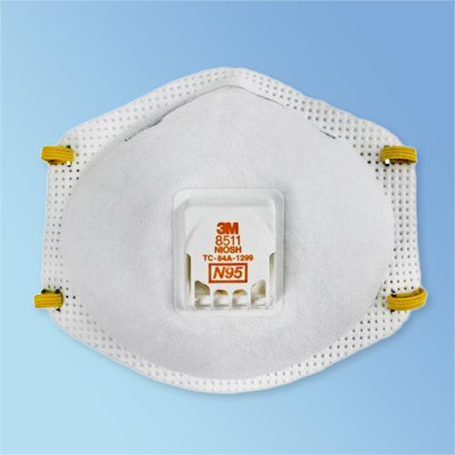 Get 3M 8511 N95 Respirator with Valve, 10/box LB8511 at Harmony (front view)