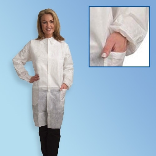 Get White Polypropylene Lab Coats, Elastic Wrist, 3 Pockets, White, 30/cs T252WH at Harmony
