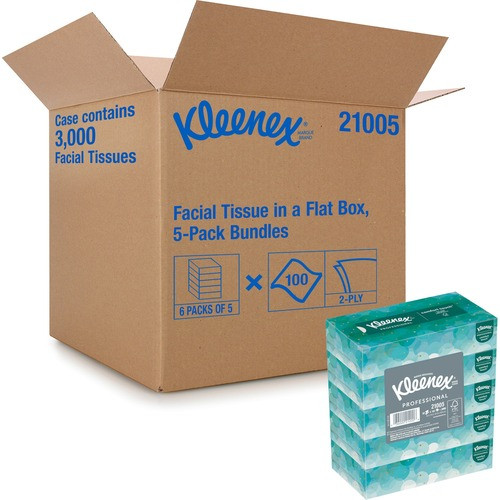 "Get Kleenex Facial Tissue, White 2-Ply, 8.4"" x 8"", 100/box, 30 boxes/case at Harmony Lab & Safety Supplies."