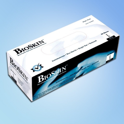 BioSkin High Risk Latex Exam Gloves, 14 mil thick, Powder Free