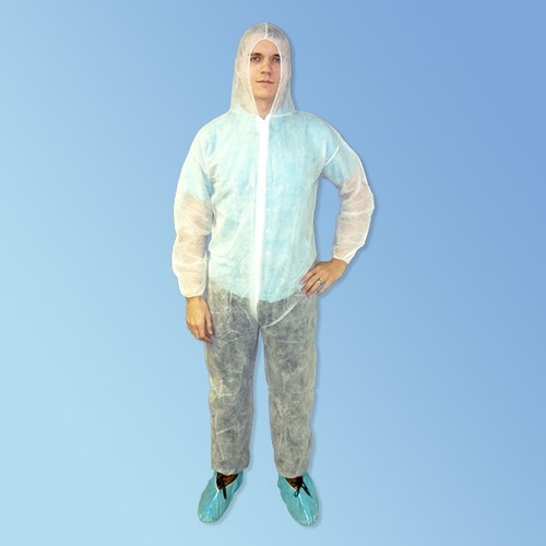Get Keystone White Polypropylene Coveralls with Hood, 25/cs T185-WH at Harmony