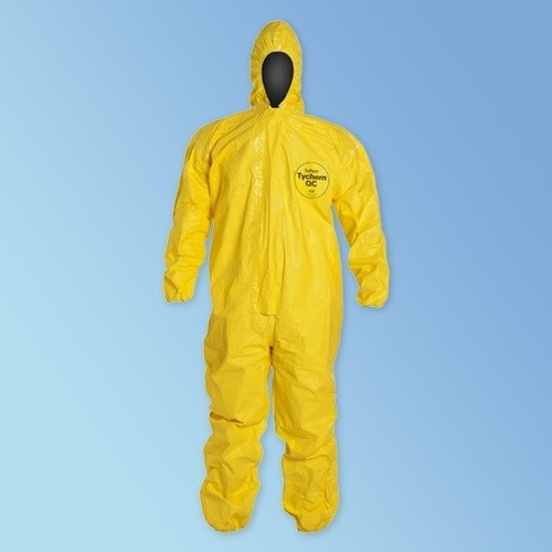 DuPont TYCHEM QC127S Coveralls with hood, elastic wrist and ankle, High visibility yellow