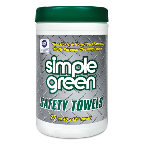 """Get Simple Green Safety Towels, 10"""" x 12"""", 75/can, 6/case LSMP13351 at Harmony"""