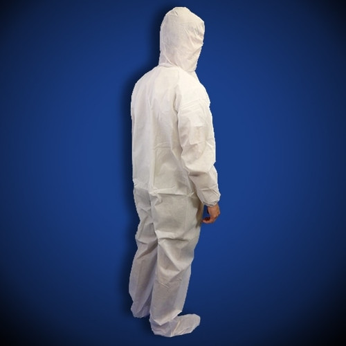 PureGuard White Polyethylene (PE) Coated Coveralls with Hood & Boot, 25/case | Harmony Lab and Safety Supplies